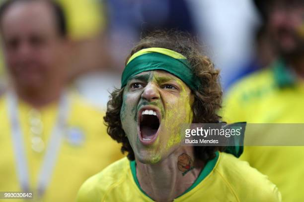 Brazil fan reacts following his sides defeat in the 2018 FIFA World Cup Russia Quarter Final match between Brazil and Belgium at Kazan Arena on July...