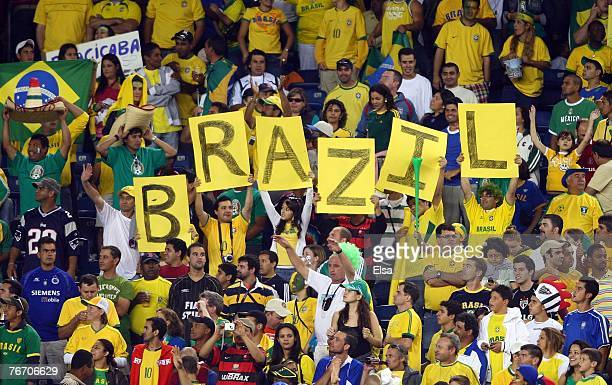 Brazil fans celebrate during the first half against Mexico on September 12 2007 at Gillette Stadium in Foxboro Massachusetts