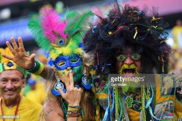 Brazil fans celebrate following their sides victory in the 2018 FIFA World Cup Russia Round of 16 match between Brazil and Mexico at Samara Arena on...