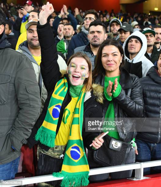 Brazil fans during an International Friendly between Brazil and Uruguay at Emirates Stadium on November 16 2018 in London England