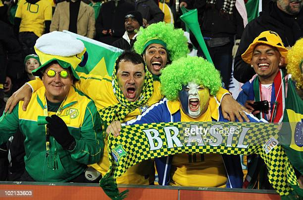 Brazil fans enjoy the atmosphere during the 2010 FIFA World Cup South Africa Group G match between Brazil and North Korea at Ellis Park Stadium on...