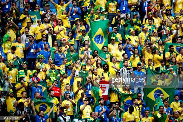 Brazil fans enjoy the atmosphere during the 2018 FIFA World Cup Russia group E match between Brazil and Costa Rica at Saint Petersburg Stadium on...
