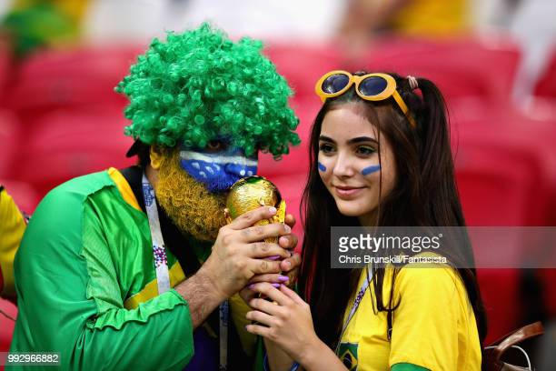 Brazil fans enjoy the atmosphere in the ground before the 2018 FIFA World Cup Russia Quarter Final match between Brazil and Belgium at Kazan Arena on...