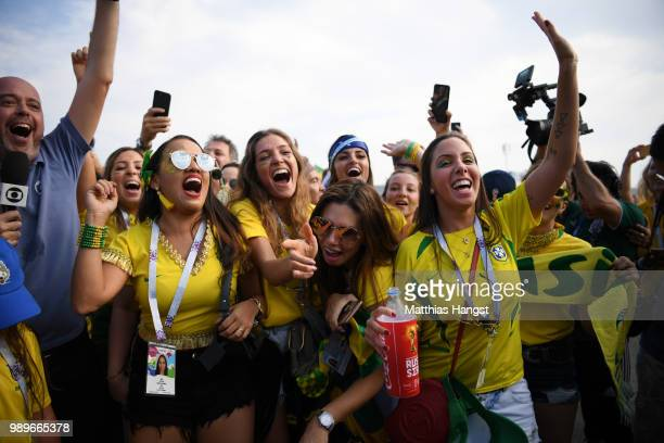Brazil fans enjoy the pre match atmosphere during the 2018 FIFA World Cup Russia Round of 16 match between Brazil and Mexico at Samara Arena on July...