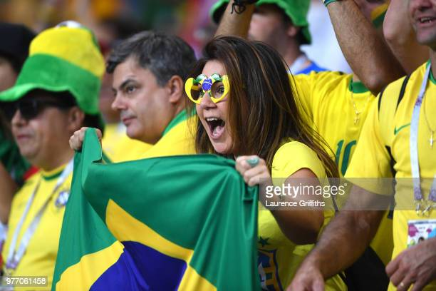 Brazil fans enjoy the pre match atmosphere prior to the 2018 FIFA World Cup Russia group E match between Brazil and Switzerland at Rostov Arena on...