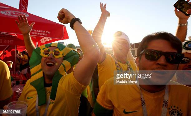 Brazil fans enjoy the pre match atmosphere prior to the 2018 FIFA World Cup Russia group E match between Serbia and Brazil at Spartak Stadium on June...