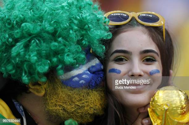 Brazil fans enjoy the pre match atmosphere prior to the 2018 FIFA World Cup Russia Quarter Final match between Brazil and Belgium at Kazan Arena on...