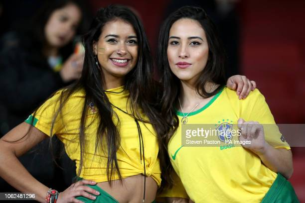 Brazil fans in the stands during the International Friendly match at the Emirates Stadium London PRESS ASSOCIATION Photo Picture date Friday November...