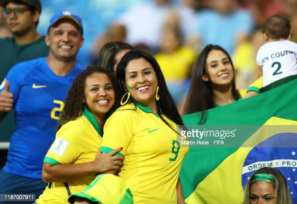 Brazil fans look on from the crowd during the FIFA U-17 World Cup Quarter Final match between Italy and Brazil at the Estádio Olímpico Goiania on...