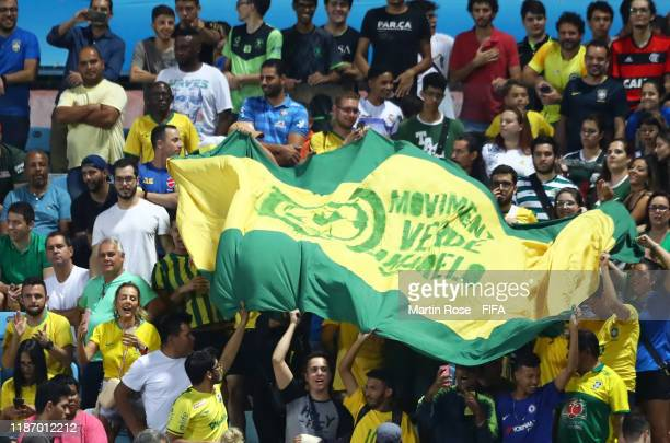 Brazil fans react in the crowd during the FIFA U17 World Cup Quarter Final match between Italy and Brazil at the Estádio Olímpico Goiania on November...