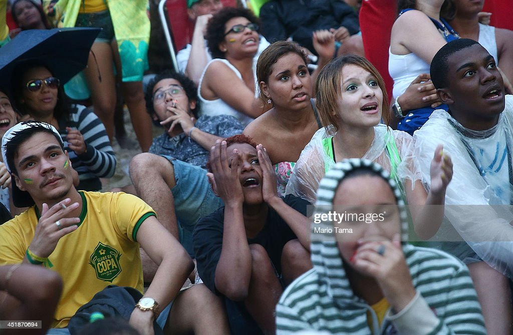 Brazilian Fans Cheer On Their National Team During World Cup Semi Finals : News Photo