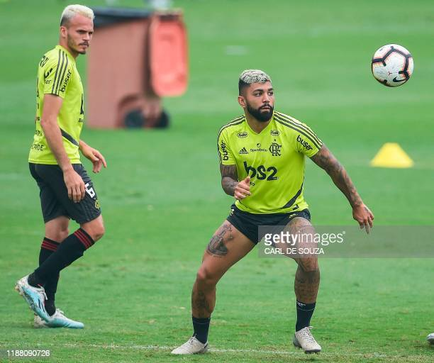 Brazil Flamengo's Gabigol controls the ball next to Rene during training session in Rio de Janeiro Brazil on December 12 ahead of the semifinal of...