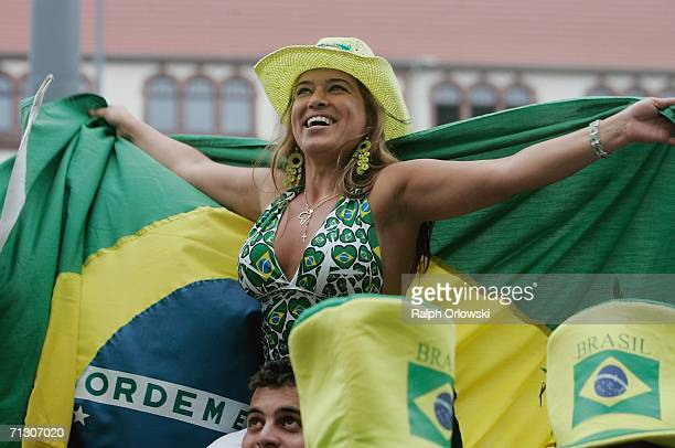 Brazil football fans celebrate the victory of their team on June 27, 2006 in Dortmund, Germany. Brazil won their World Cup match against Ghana 3-0 in...