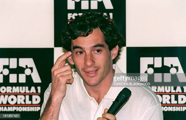 Brazil Formula One Ayrton Senna gestures at a press conference 04 November 1993 on the eve of the Formula One qualifying rounds in Adelaide,...