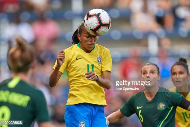 Brazil forward Adriana heads the ball in game action during a Tournament of Nations match between Brazil vs Australia on July 26 2018 at Children's...