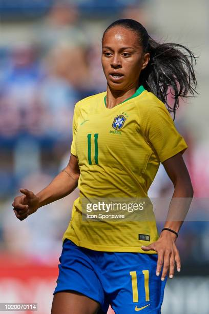 Brazil forward Adriana looks on in game action during a Tournament of Nations match between Brazil vs Australia on July 26 2018 at Children's Mercy...