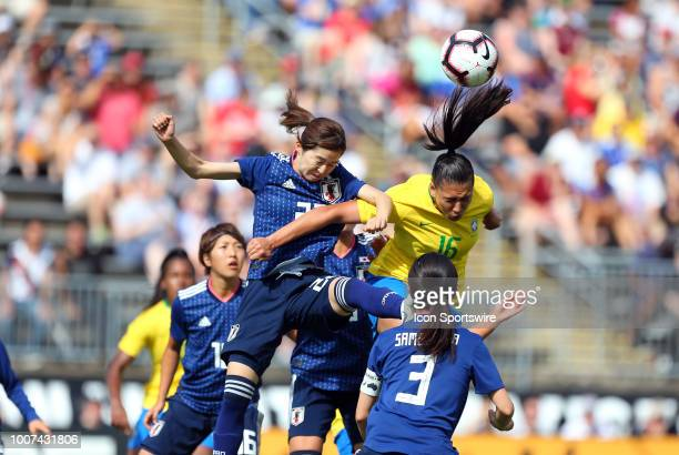 Brazil forward Beatriz abd Japan defender Risa Shimizu in action during a friendly match between Japan and Brazil on July 29 at Pratt Whitney Stadium...
