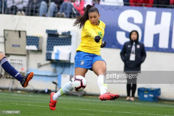 Brazil forward Beatriz crosses the ball during the SheBelieves Cup match between Brazil and Japan at Nissan Stadium on March 2nd 2019 in Nashville...