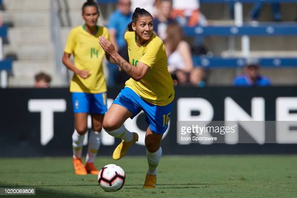 Brazil forward Beatriz dribbles the ball in game action during a Tournament of Nations match between Brazil vs Australia on July 26 2018 at...