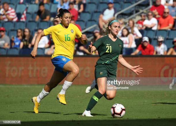 Brazil forward Beatriz tries to run down Australian defender Ellie Carpenter in the second half of a women's soccer match between Brazil and...