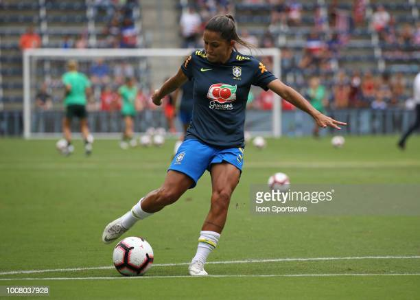 Brazil forward Debinah before a women's soccer match between Brazil and Australia in the 2018 Tournament of Nations on July 26 2018 at Children's...