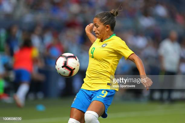 Brazil forward Debinah tries to avoid a handball in the second half of a women's soccer match between Brazil and Australia in the 2018 Tournament of...