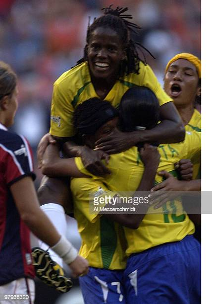 Brazil forward Katia celebrates a goal Wednesday September 24 2003 at RFK Stadium Washington D C during the opening round of the FIFA Women's 2003...