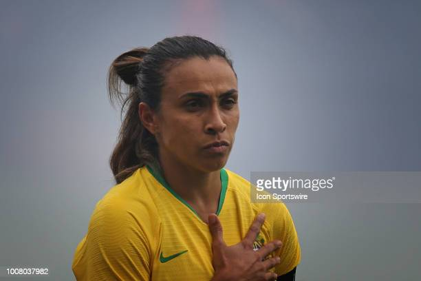 Brazil forward Marta before a women's soccer match between Brazil and Australia in the 2018 Tournament of Nations on July 26 2018 at Children's Mercy...