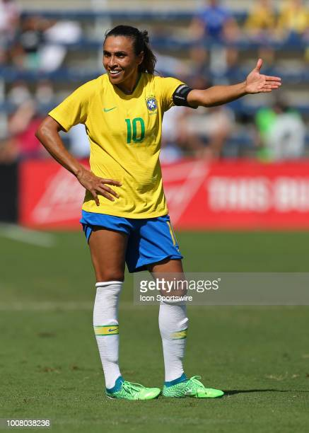 Brazil forward Marta can't believe a call in the second half of a women's soccer match between Brazil and Australia in the 2018 Tournament of Nations...
