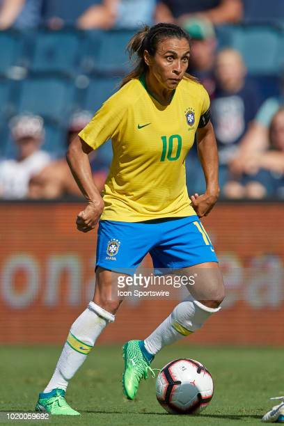 Brazil forward Marta dribbles the ball in game action during a Tournament of Nations match between Brazil vs Australia on July 26 2018 at Children's...