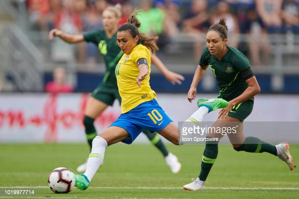 Brazil forward Marta kicks the ball in game action during a Tournament of Nations match between Brazil vs Australia on July 26 2018 at Children's...