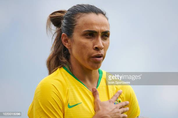 Brazil forward Marta looks on during the national anthem prior to game action during a Tournament of Nations match between Brazil vs Australia on...