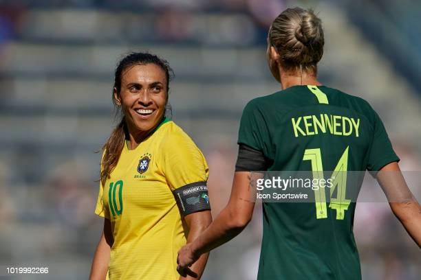 Brazil forward Marta looks on in game action during a Tournament of Nations match between Brazil vs Australia on July 26 2018 at Children's Mercy...