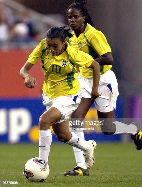 Brazil forward Marta rushes upfield October 1 2003 at Gillette Stadium Foxboro Massachuttes during the quarterfinals of the FIFA Women's World Cup...