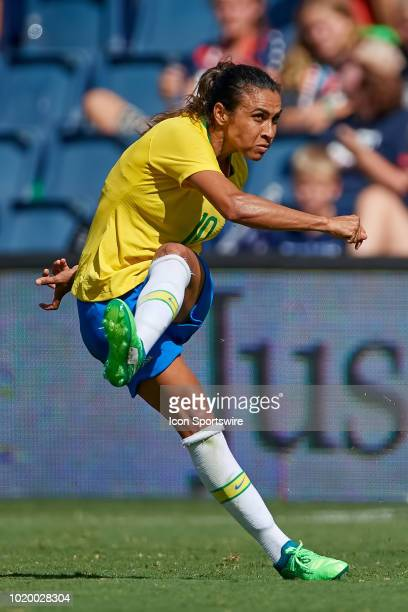Brazil forward Marta shoots the ball in game action during a Tournament of Nations match between Brazil vs Australia on July 26 2018 at Children's...