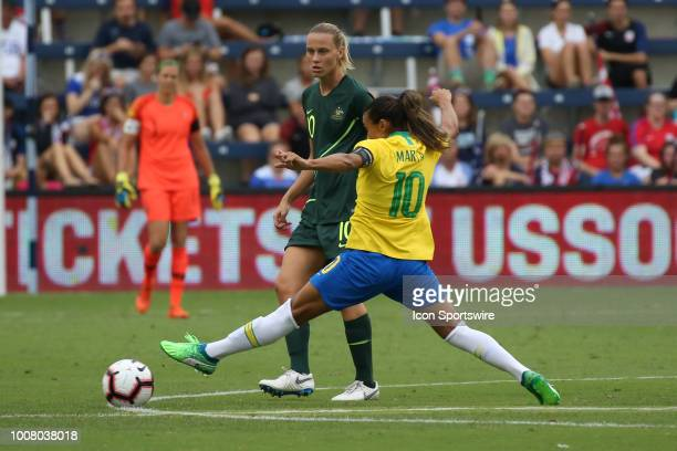 Brazil forward Marta stretches out for the ball in the first half of a women's soccer match between Brazil and Australia in the 2018 Tournament of...