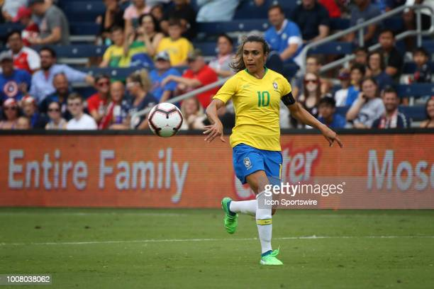 Brazil forward Marta watches a pass in the first half of a women's soccer match between Brazil and Australia in the 2018 Tournament of Nations on...