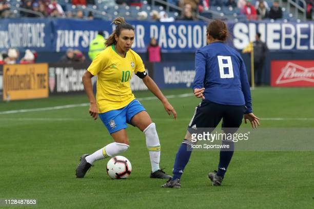Brazil foward Marta during the She Believes Cup match between Brazil and Japan at Nissan Stadium on March 2nd 2019 in Nashville Tennessee