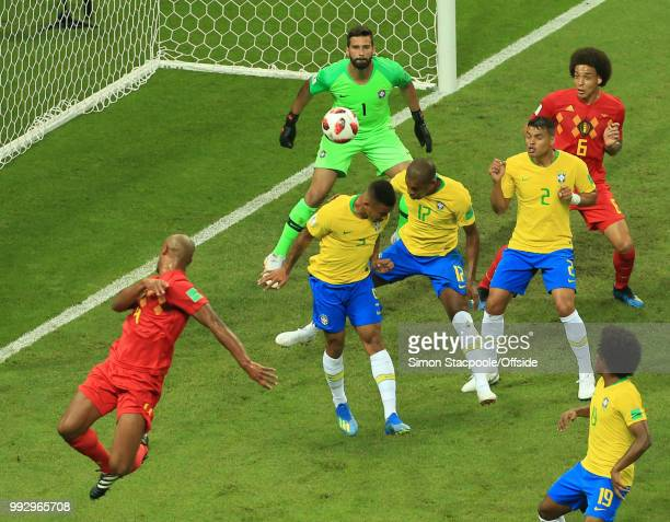 Brazil goalkeeper Alisson Becker can only watch as the ball is deflected past him by Fernandinho of Brazil who scores an own goal during the 2018...