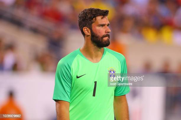 Brazil goalkeeper Alisson Becker during the second half of the International Friendly Soccer match between the the United States and Brazil on...