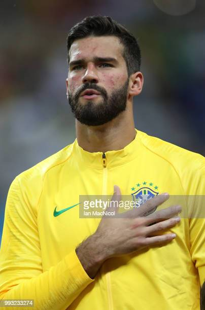 Brazil goalkeeper Alisson Becker is seen during the 2018 FIFA World Cup Russia Quarter Final match between Brazil and Belgium at Kazan Arena on July...