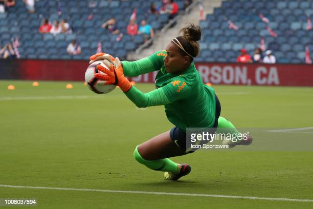 Brazil goalkeeper Barbara dives for a save in warmups before a women's soccer match between Brazil and Australia in the 2018 Tournament of Nations on...
