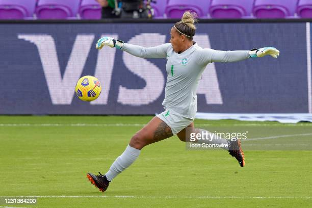 Brazil goalkeeper Barbara kicks the ball in action during a SheBelieves Cup game between Brazil and the United States on February 21, 2021 at...