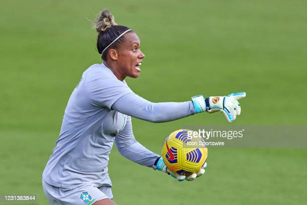 Brazil goalkeeper Barbara points down field in action during a SheBelieves Cup game between Brazil and the United States on February 21, 2021 at...