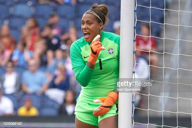 Brazil goalkeeper Barbara reacts to a play in game action during a Tournament of Nations match between Brazil vs Australia on July 26 2018 at...