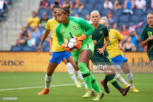 Brazil goalkeeper Barbara runs with the ball in game action during a Tournament of Nations match between Brazil vs Australia on July 26 2018 at...