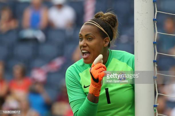 Brazil goalkeeper Barbara shouts out instructions before a goal kick in the first half of a women's soccer match between Brazil and Australia in the...