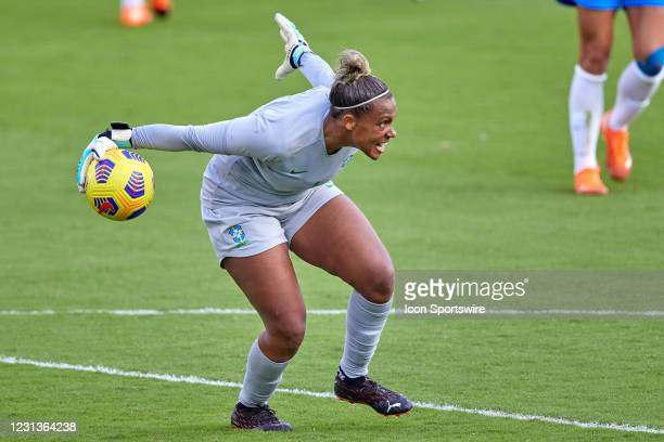 Brazil goalkeeper Barbara throws the ball in action during a SheBelieves Cup game between Brazil and the United States on February 21, 2021 at...
