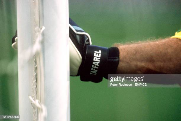 Brazil goalkeeper Taffarel holds onto the post whilst organizing his wall