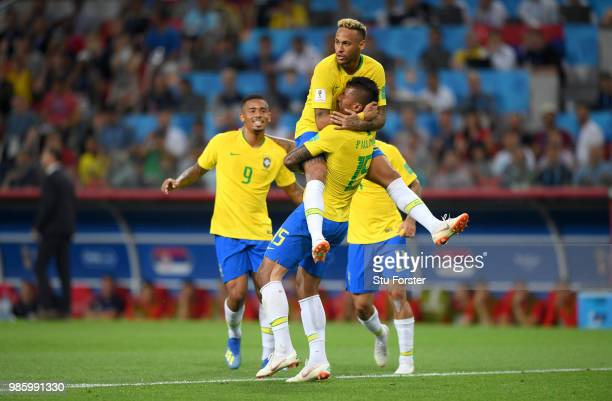 Brazil goalscorer Paulinho celebrates his goal with Gabriel Jesus and Neymar Jr during the 2018 FIFA World Cup Russia group E match between Serbia...